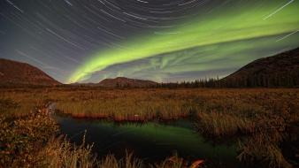 Aurora borealis yukon star trails Wallpaper