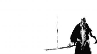 Bleach grayscale swords white background yamamoto genryusai shigekuni Wallpaper
