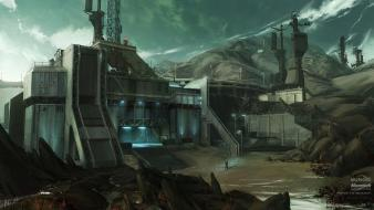 Buildings halo reach digital art concept artwork wallpaper