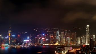 Cityscapes night architecture hong kong city lights cities wallpaper