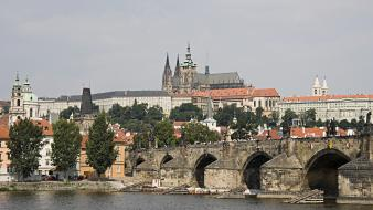 Day bridges europe prague czech republic rivers Wallpaper