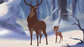 Deer bambi walt disney snow landscapes wallpaper