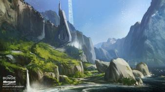 Digital art concept artwork waterfalls forge forerunner Wallpaper