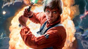 Explosions lightsabers luke skywalker rebels x-wing rebellion wallpaper