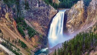 Forest usa wyoming hdr photography yellowstone waterfalls Wallpaper