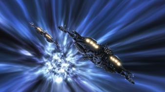 Futuristic stargate atlantis spaceships shows warp speed wallpaper