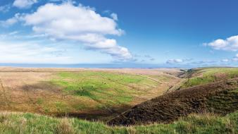 Grass hills seaside panorama sunny Wallpaper