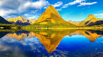 Green mountains clouds trees peaks panorama lakes reflections wallpaper