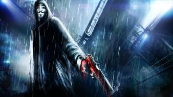 Guy fawkes v for vendetta artwork hooded wallpaper