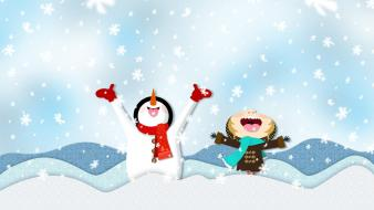 Happy snowmen digital art Wallpaper