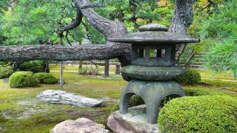 Japan landscapes trees garden stones Wallpaper