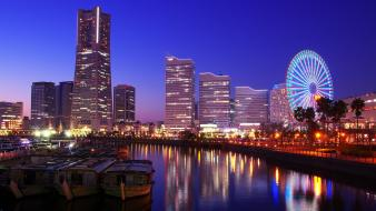 Japan tokyo cityscapes yokohama city night wallpaper