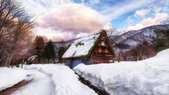 Landscapes winter snow cottage wallpaper