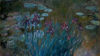 Lily pads giverny claude monet irises impressionism wallpaper