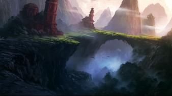 Mountains landscapes fantasy art digital artwork portuguese wallpaper