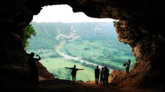 Mountains landscapes nature caves puerto rico cueva ventana Wallpaper