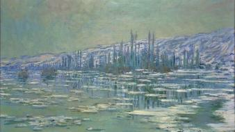 Mountains winter snow rivers claude monet impressionism Wallpaper