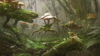 Mushrooms moss digital art artwork card game Wallpaper