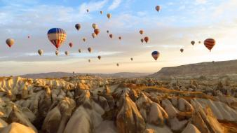 Nature hot air balloons hoodoo wallpaper