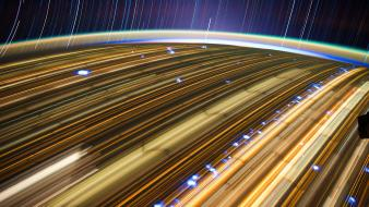 Outer space lights stars earth international station Wallpaper