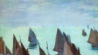 Paintings boats claude monet impressionism wallpaper