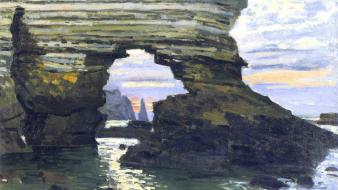 Paintings claude monet rock formations etretat impressionism sea wallpaper