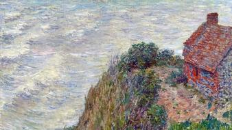 Paintings houses claude monet impressionism sea wallpaper
