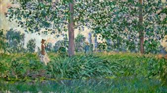 Paintings trees rivers claude monet impressionism Wallpaper