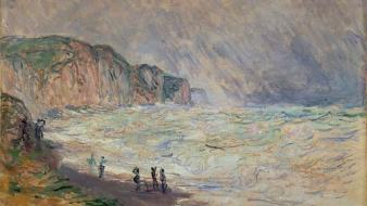 Paintings waves people claude monet cove impressionism sea wallpaper