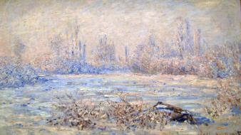 Paintings winter frost claude monet impressionism Wallpaper