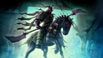 Skulls fantasy art horses Wallpaper