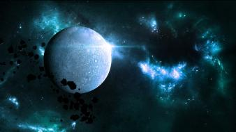 Space stars planets shining science fiction sci-fi wallpaper