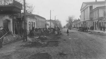 Streets ussr grayscale cities taganrog wallpaper