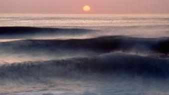 Sunrise waves atlantic ocean massachusetts wallpaper