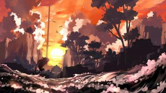 Sunset landscapes okami scenic wallpaper