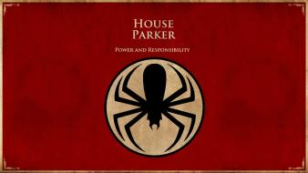 Thrones crossovers red background spider-man logo bordered wallpaper
