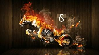 Tigers motorbikes photomanipulation wallpaper