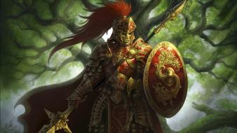 Video games armor artwork warriors spears allods online wallpaper