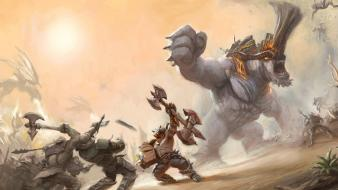 War monsters fight giant fantasy art Wallpaper