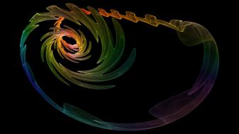 Abstract black multicolor fractals twister spinner fractal wallpaper
