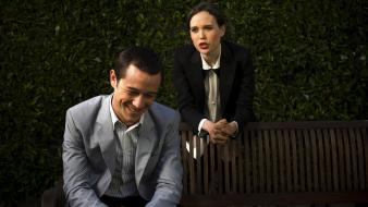 Actress bench actors hedges laughing joseph gordon-levitt wallpaper