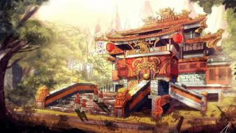 Art temples statues concept artwork asian architecture wallpaper