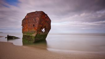 Beach wrecks rust wallpaper