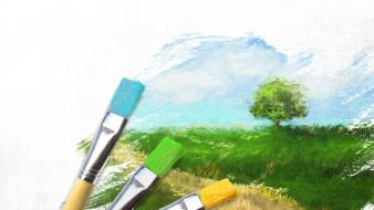 Blue grass green nature paintings wallpaper
