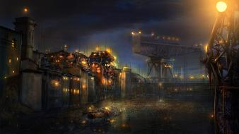 Buildings industrial concept art artwork machinery cities wallpaper