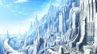 Castles white fantasy art town wallpaper
