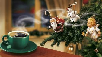 Christmas trees new year santa claus angels coffee Wallpaper