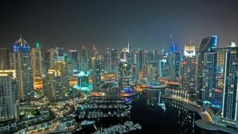 Cityscapes dubai skyscrapers city lights marina Wallpaper