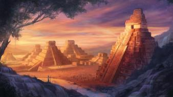 Cityscapes golden artwork temple pyramids wallpaper