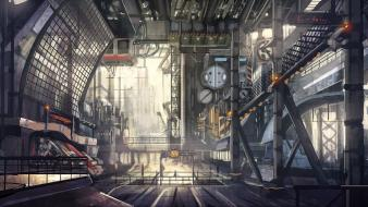 Concept art artwork machinery railing interior spaces wallpaper